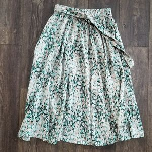 H&M Pink and Green Mixed Print Tie Skirt - small
